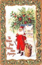 hol018371 - Santa Claus Christmas Old Vintage Antique Postcard