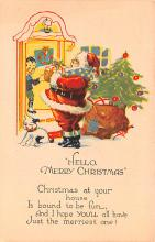 hol018377 - Santa Claus Christmas Old Vintage Antique Postcard