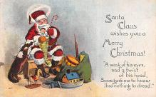 hol018411 - Santa Claus Christmas Old Vintage Antique Postcard