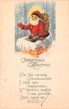 hol018427 - Santa Claus Christmas Old Vintage Antique Postcard