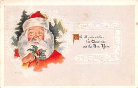 hol018489 - Santa Claus Christmas Old Vintage Antique Postcard