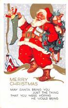 hol018501 - Santa Claus Christmas Old Vintage Antique Postcard