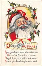 hol018513 - Santa Claus Christmas Old Vintage Antique Postcard