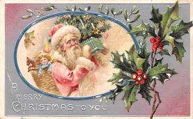 hol018523 - Santa Claus Christmas Old Vintage Antique Postcard