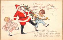 hol018545 - Santa Claus Christmas Old Vintage Antique Postcard