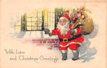 hol018561 - Santa Claus Christmas Old Vintage Antique Postcard