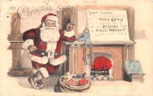 hol018567 - Santa Claus Christmas Old Vintage Antique Postcard