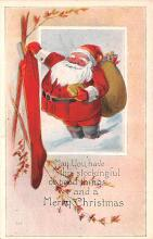 hol018607 - Santa Claus Christmas Old Vintage Antique Postcard