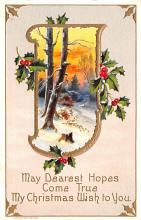 hol051027 - Christmas Postcard Old Vintage Antique Post Card