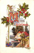 hol051077 - Christmas Postcard Old Vintage Antique Post Card