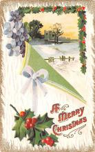 hol051085 - Christmas Postcard Old Vintage Antique Post Card