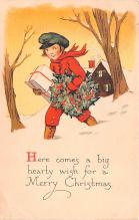 hol051095 - Christmas Postcard Old Vintage Antique Post Card