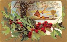 hol051105 - Christmas Postcard Old Vintage Antique Post Card