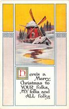 hol051189 - Christmas Postcard Old Vintage Antique Post Card