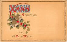 hol051195 - Christmas Postcard Old Vintage Antique Post Card