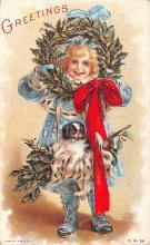 hol051277 - Christmas Postcard Old Vintage Antique Post Card