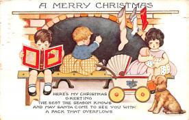 hol051329 - Christmas Postcard Old Vintage Antique Post Card