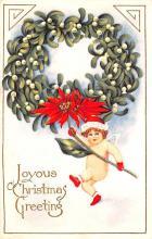 hol051447 - Christmas Postcard Old Vintage Antique Post Card