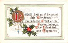 hol051569 - Christmas Postcard Old Vintage Antique Post Card
