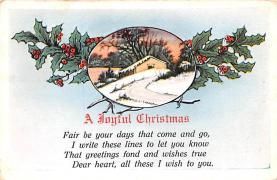 hol051571 - Christmas Postcard Old Vintage Antique Post Card