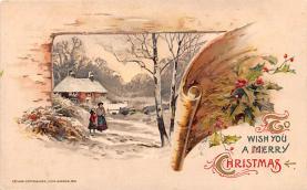 hol051997 - Christmas Postcard Old Vintage Antique Post Card