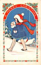 hol052137 - Christmas Postcard Old Vintage Antique Post Card