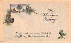 hol052177 - Christmas Postcard Old Vintage Antique Post Card