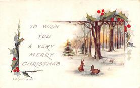 hol052187 - Christmas Postcard Old Vintage Antique Post Card