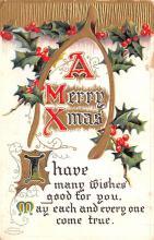 hol052307 - Christmas Postcard Old Vintage Antique Post Card