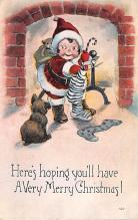 hol052443 - Christmas Postcard Old Vintage Antique Post Card