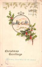 hol052463 - Christmas Postcard Old Vintage Antique Post Card
