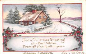 hol052487 - Christmas Postcard Old Vintage Antique Post Card