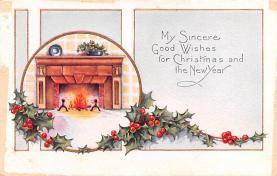 hol052551 - Christmas Postcard Old Vintage Antique Post Card