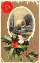 hol052663 - Christmas Postcard Old Vintage Antique Post Card
