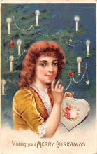 hol052791 - Christmas Postcard Old Vintage Antique Post Card