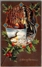 hol052855 - Christmas Postcard Old Vintage Antique Post Card