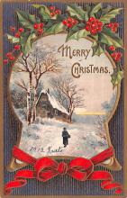 hol052925 - Christmas Postcard Old Vintage Antique Post Card