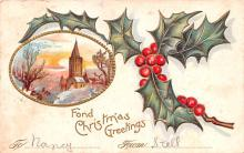 hol052943 - Christmas Postcard Old Vintage Antique Post Card