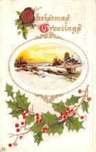 hol052973 - Christmas Postcard Old Vintage Antique Post Card