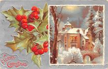hol053167 - Christmas Postcard Old Vintage Antique Post Card