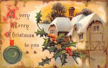 hol053171 - Christmas Postcard Old Vintage Antique Post Card