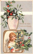 hol053229 - Christmas Postcard Old Vintage Antique Post Card