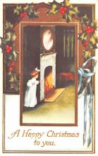 hol054009 - Christmas Postcard Old Vintage Antique Post Card