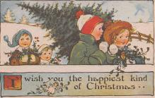 hol054105 - Christmas Postcard Old Vintage Antique Post Card