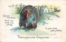hol061375 - Thanksgiving Old Vintage Antique Postcard Post Card