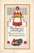 hol061791 - Thanksgiving Old Vintage Antique Postcard Post Card