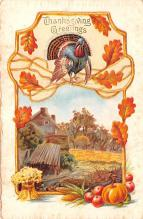 hol064001 - Thanksgiving Postcard Old Vintage Antique Post Card