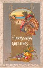 hol064005 - Thanksgiving Postcard Old Vintage Antique Post Card