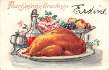 hol064015 - Thanksgiving Postcard Old Vintage Antique Post Card
