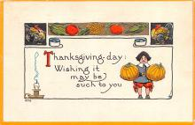 hol064029 - Thanksgiving Postcard Old Vintage Antique Post Card
